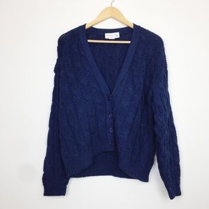 Vintage | Slouchy Navy Heavy Knit Cardigan Large